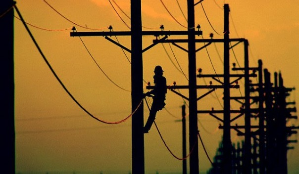 Lineman Working on Utility Pole