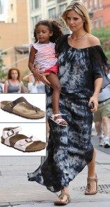 Heidi-Klum-s-sandals-Birkenstock-Gizeh-daughter-wears-Birkenstock-sandals