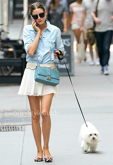 Olivia-Palermo-denim-shirt-and-leopard-ballet-flat-shoes-in-New-York